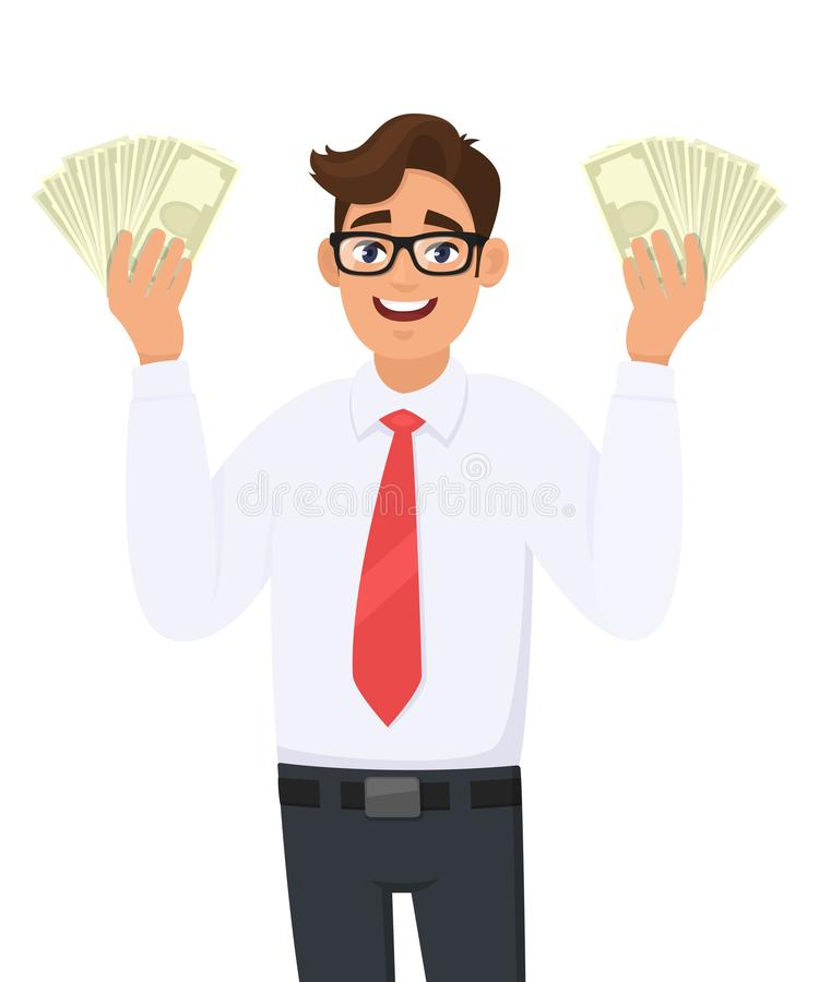 Businessman Showing And Pointing Hand To Copy Space Side
