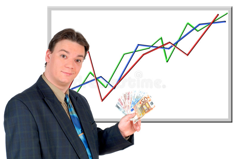 Young businessman showing money, euro stock images