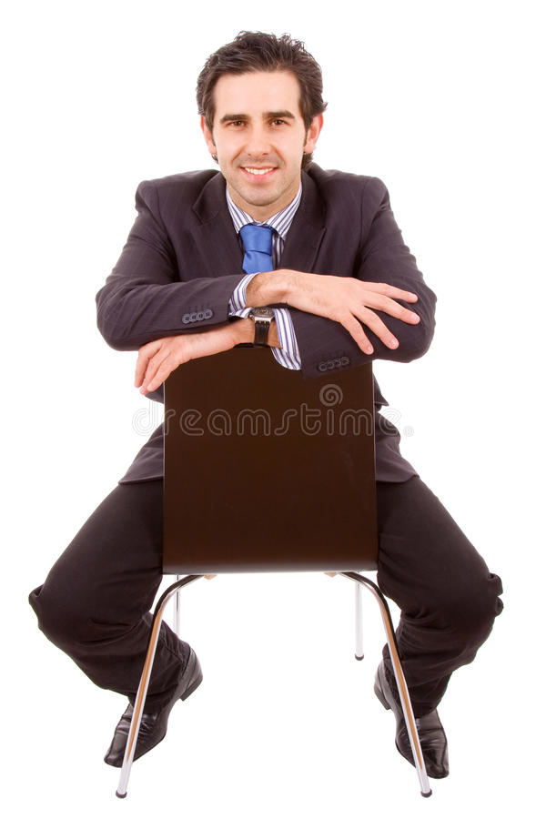 Download Young Businessman Sitting On Chair Stock Image - Image: 12369007