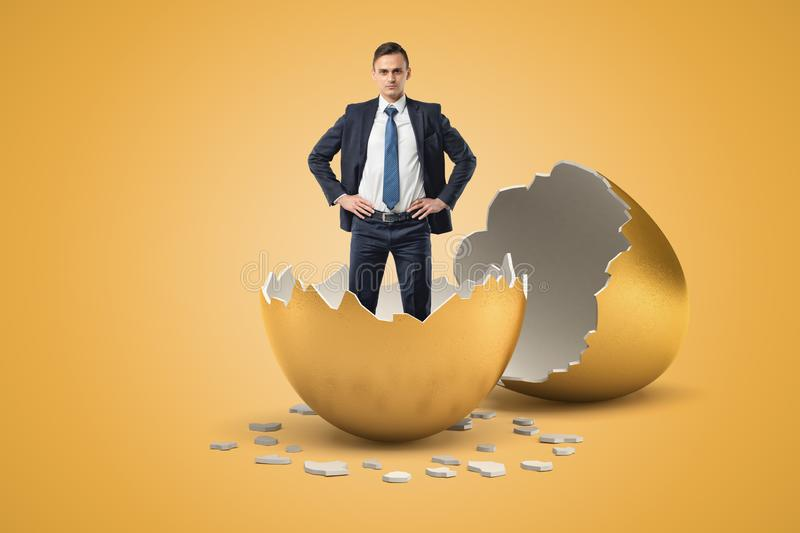 Young businessman standing in golden eggshell as if he just hatched out from egg. New business. Inexperienced businessmen. New ideas stock image