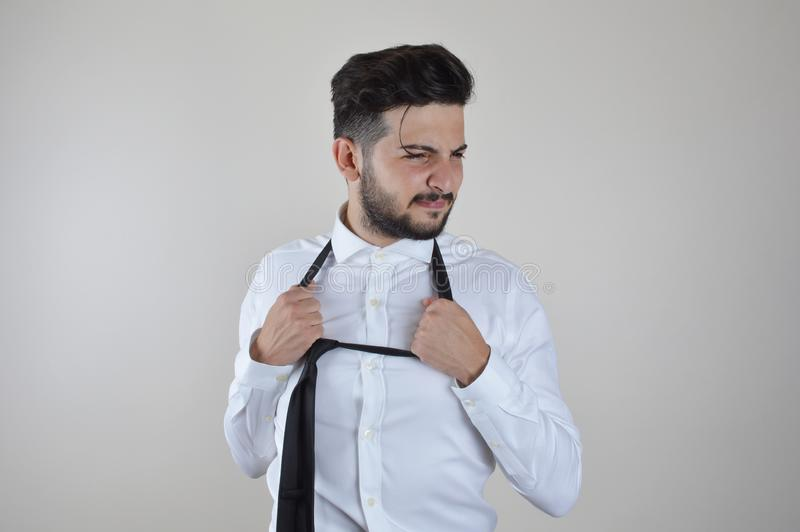 Young businessman stressed and depressed royalty free stock image