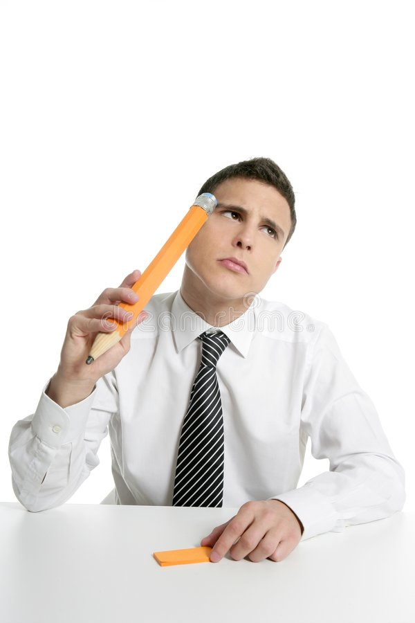 Download Young Businessman Student Thinking With Pencil Stock Photo - Image of executive, face: 8999420