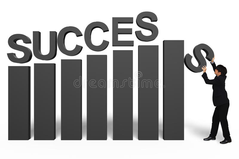 Young businessman with success 3d text stock images