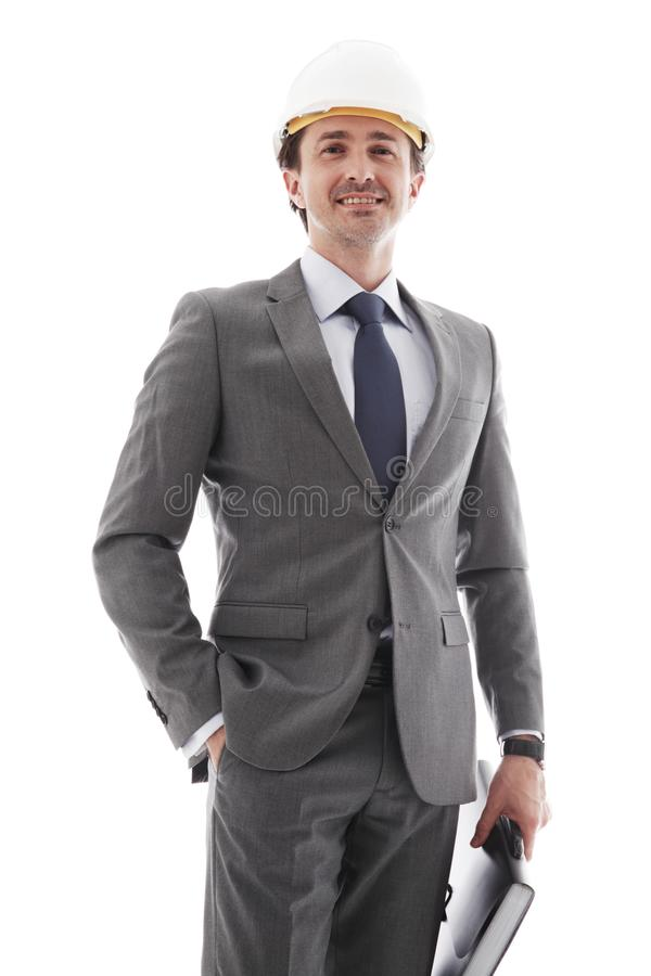 Business man in suit and hardhat stock photo