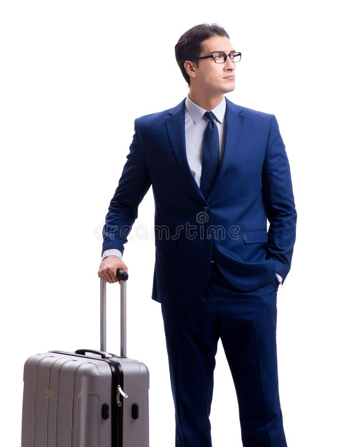 Young businessman with suitcase isolated on white background stock photography
