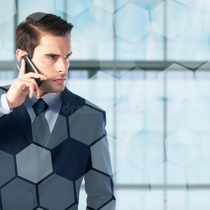 Young businessman on the phone royalty free stock images