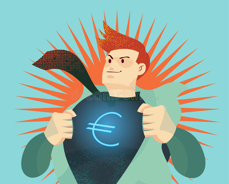 Young businessman tearing his shirt off with euro dollar sign. Represent money currency war, economic change stock illustration