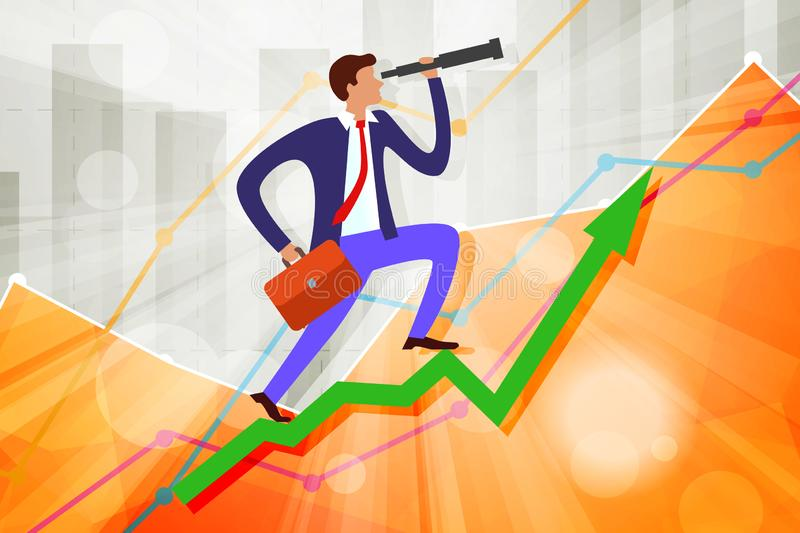 Young businessman with telescope and case on growing steps arrow with business statistics chart showing various visualization. Graphs on background, up, growth stock illustration