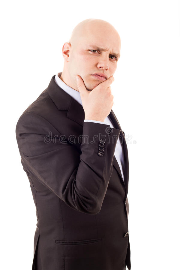 Young businessman thinking isolated royalty free stock photography
