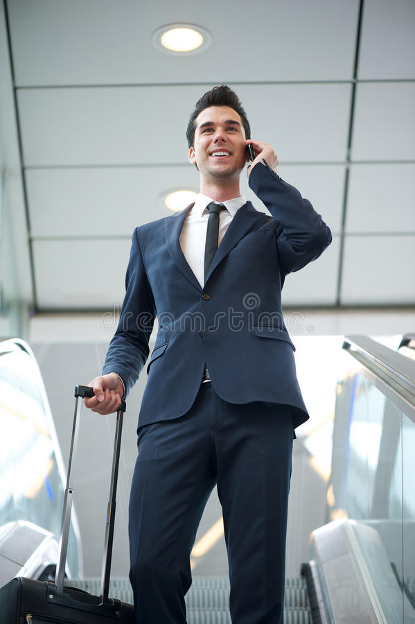Download Young Businessman Traveling With Bag And Phone Stock Image - Image: 32203569