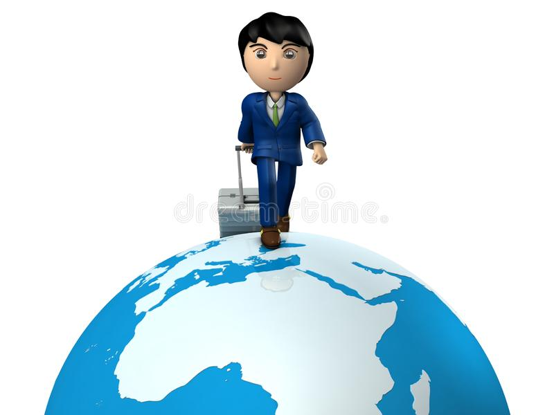 A young businessman traveling the world by pulling suitcase. Great globe. Africa and Europe. White background. A business person wearing a suit. Asian.Abstract royalty free illustration