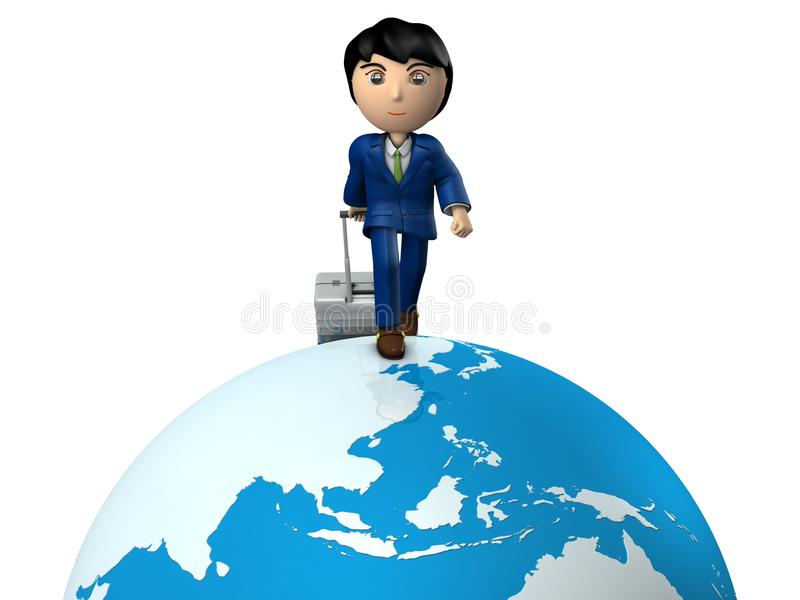 A young businessman traveling the world by pulling suitcase. Great globe. Asia. White background. 3D illustration. A business person wearing a suit. Asian vector illustration