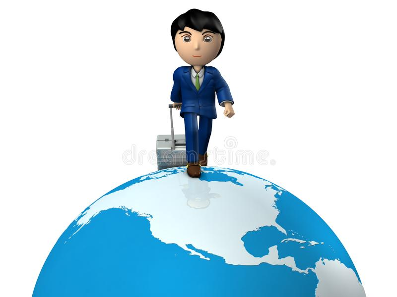 A young businessman traveling the world by pulling suitcase. Great globe. USA. White background. 3D illustration. A business person wearing a suit. Asian royalty free illustration