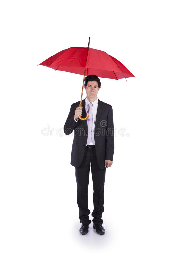 Young Businessman with a umbrella royalty free stock image