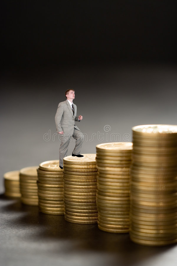 Download Young  Businessman Upstairs Career From Money Stock Image - Image: 503053