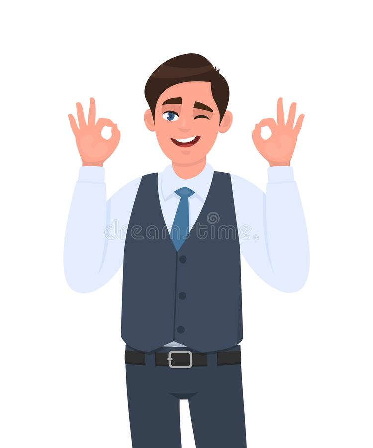 Young businessman in waistcoat showing okay or OK gesture and winking eye. Person making symbol of good or cool sign. Male character design illustration. Human vector illustration
