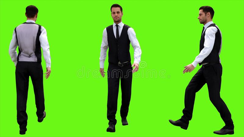 Young businessman walking on a green screen background. 3D rendering vector illustration