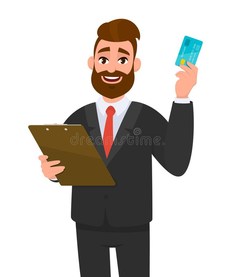 Young businessman wearing a suit holding clipboard and showing debit, credit, ATM card. Person keeping the file pad in hand. vector illustration