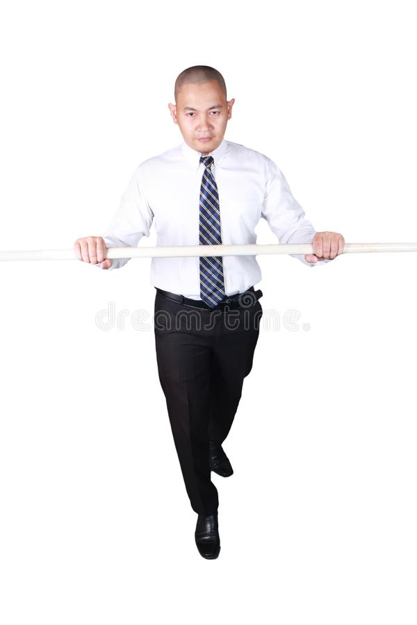 Young Asian Businessman Rope Walking Gesture royalty free stock photography