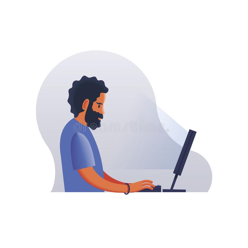Young businessman working in office, sitting at desk, looking at computer screen. Vector illustration. System royalty free illustration