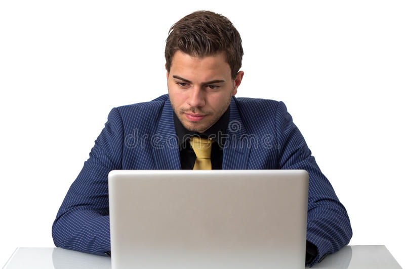 Download Young Businessman Working On He's Notebook Stock Photo - Image: 25100878