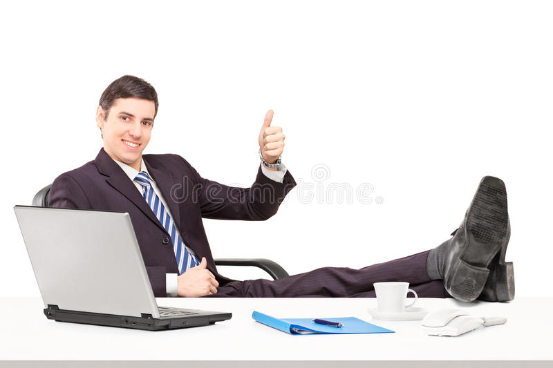 Download Young Businessperson Sitting On A Chair With His Legs Up And Giv Stock Image - Image of gesture, hand: 28794887