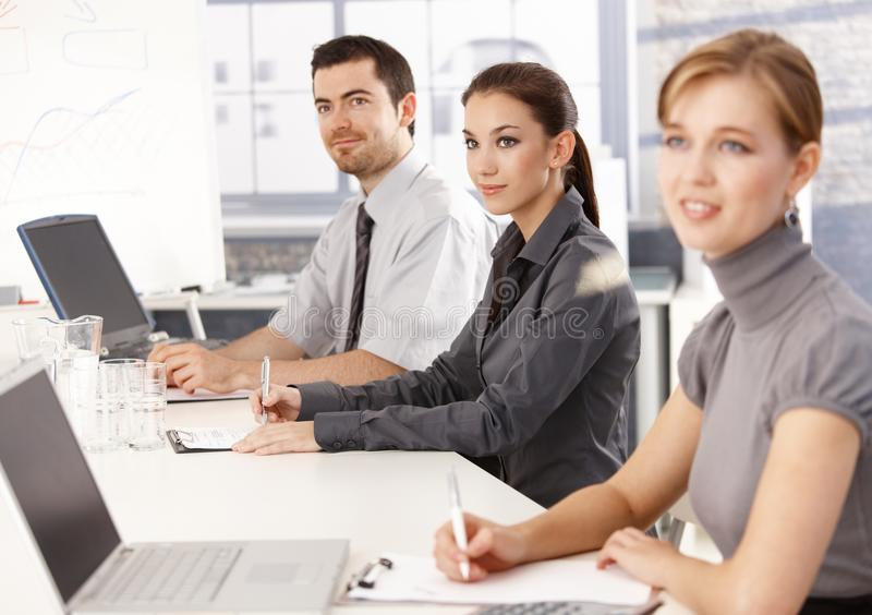 Download Young Businessteam Listening Presentation Stock Image - Image: 18591479