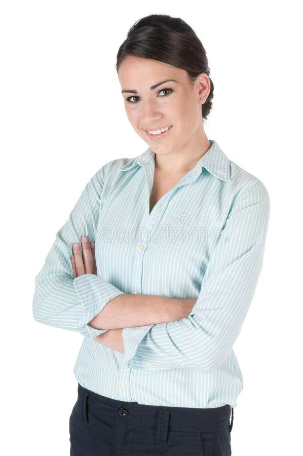 Young businesswoman, arms crossed, isolated
