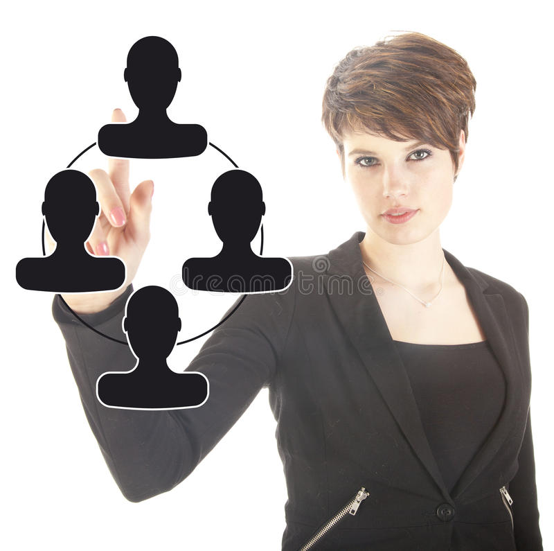 Young businesswoman with black virtual friends isolated stock images