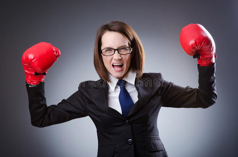 Download Young Businesswoman -  Boxing Concept Stock Image - Image of conflict, background: 24162935