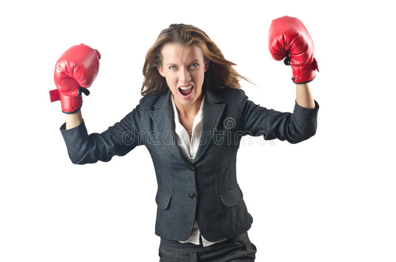 Young Businesswoman - Boxing Concept Royalty Free Stock Image
