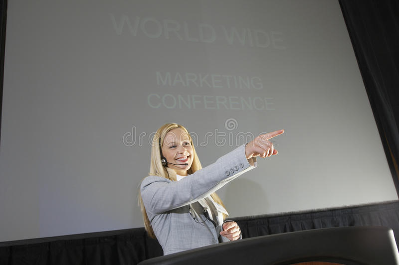 Young Businesswoman At Business Convention stock photography