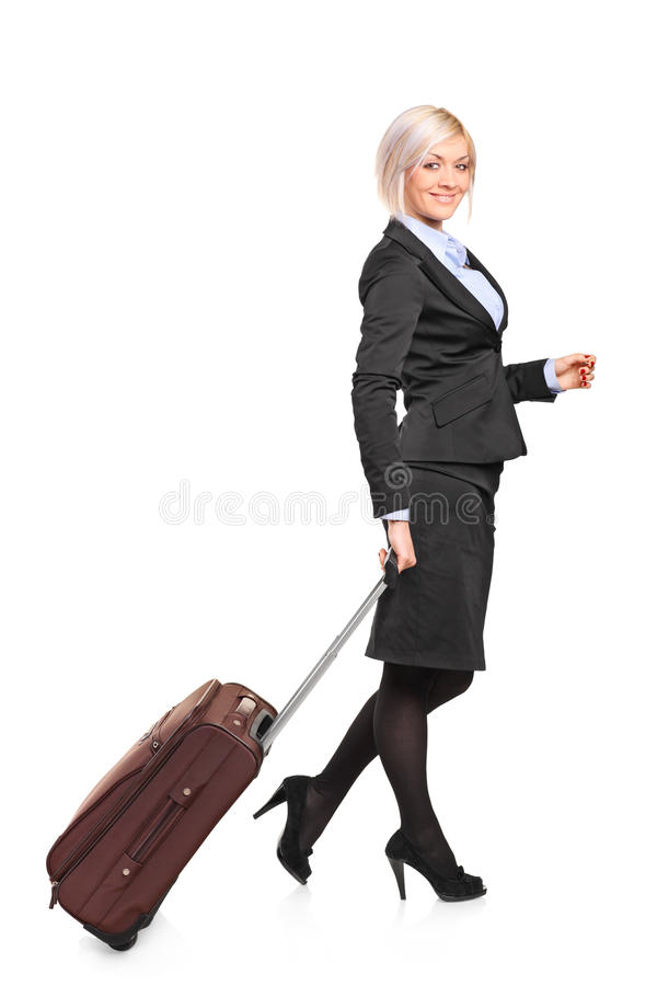 Download Young Businesswoman Carrying A Luggage Royalty Free Stock Photos - Image: 19696018