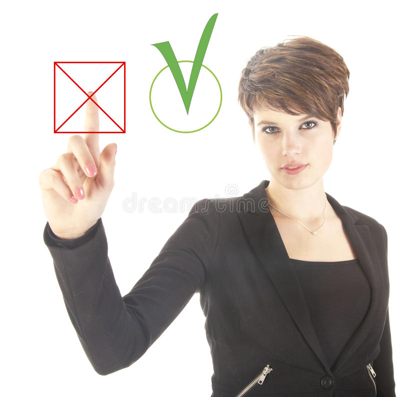 Young businesswoman choosing no over yes isolated. On white background stock image