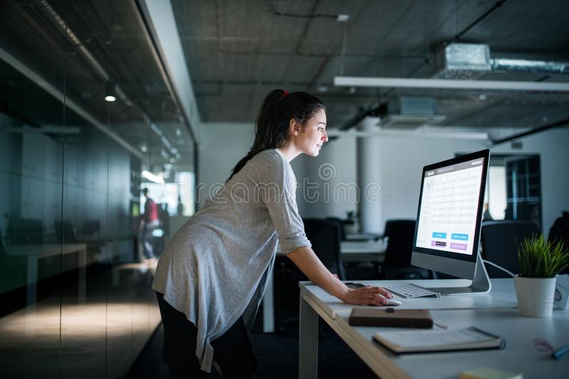 Young businesswoman with computer standing in an office, working. royalty free stock photos