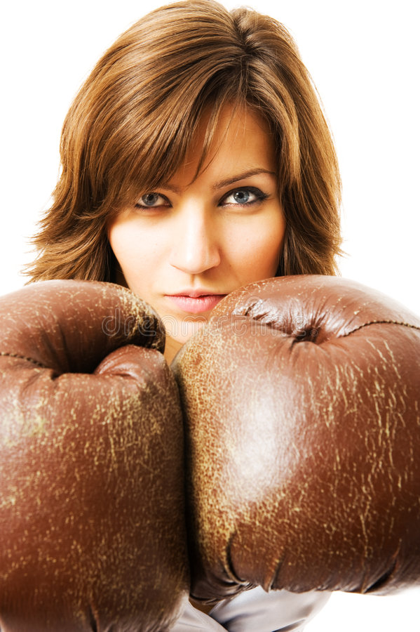 Download The Young Businesswoman Defends From Competitors. Royalty Free Stock Photos - Image: 5281848