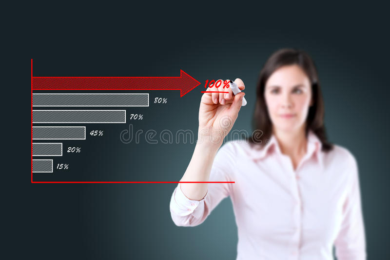 Young businesswoman drawing a stock chart. Young businesswoman drawing a stock chart stock photography
