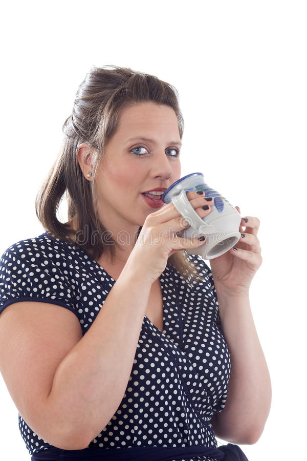 Download Young Businesswoman Drinks From Mug Stock Image - Image: 10321965