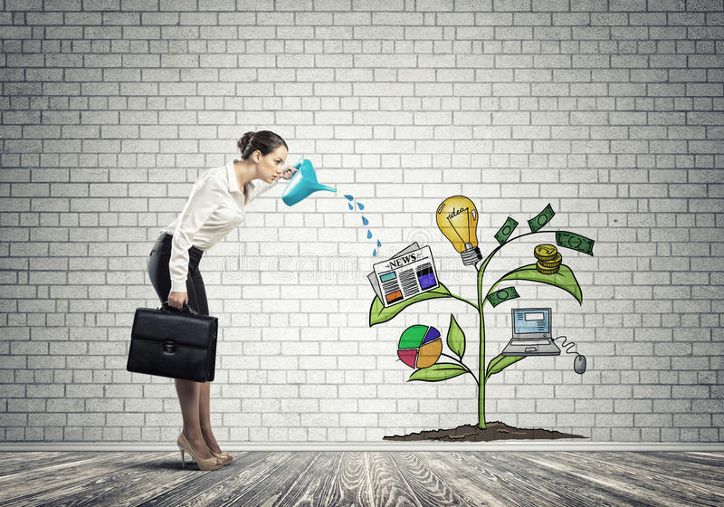 Young businesswoman in empty room watering drawn growth concept with can. Attractive businesswoman presenting investment and financial growth concept stock photo
