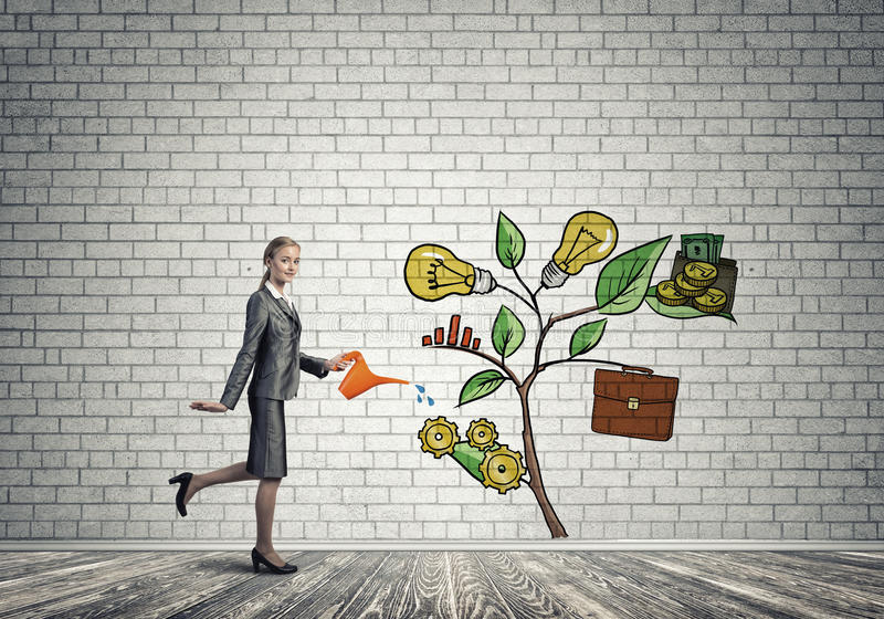 Young businesswoman in empty room watering drawn growth concept with can. Attractive businesswoman presenting investment and financial growth concept vector illustration