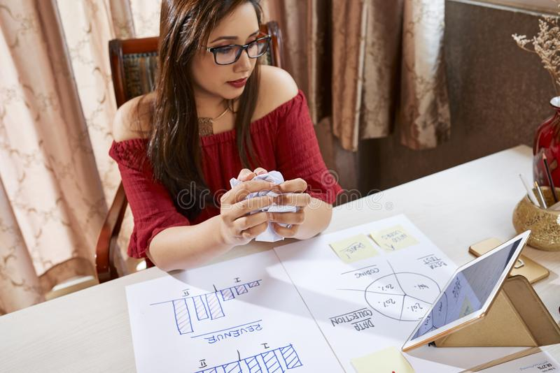 Businesswoman developing new business plan at office stock photos