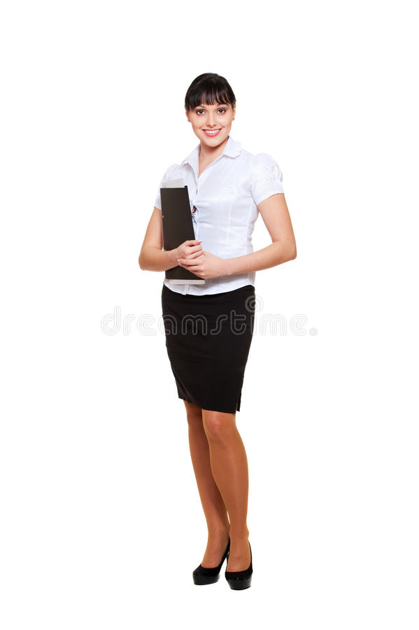 Young businesswoman with folder royalty free stock images