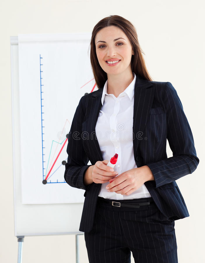 Download Young Businesswoman Giving A Conference Stock Photo - Image: 12171114