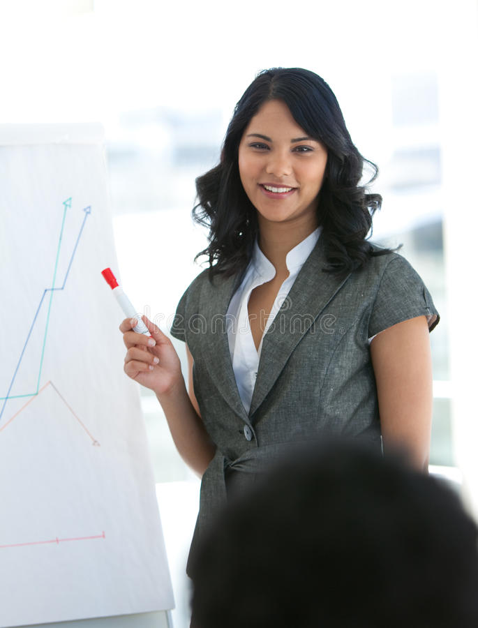 Young Businesswoman Giving A Presentation Royalty Free Stock Images