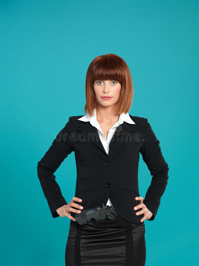 Download Young Businesswoman, With Gun In Pocket Stock Photo - Image: 24288710
