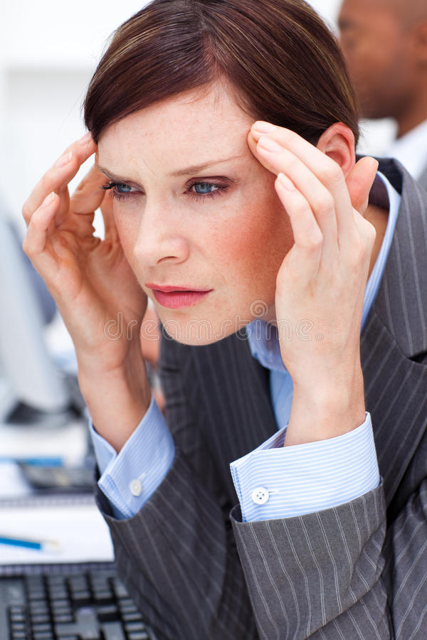 Download Young Businesswoman Having A Migraine Stock Image - Image of businesswoman, hand: 12025023