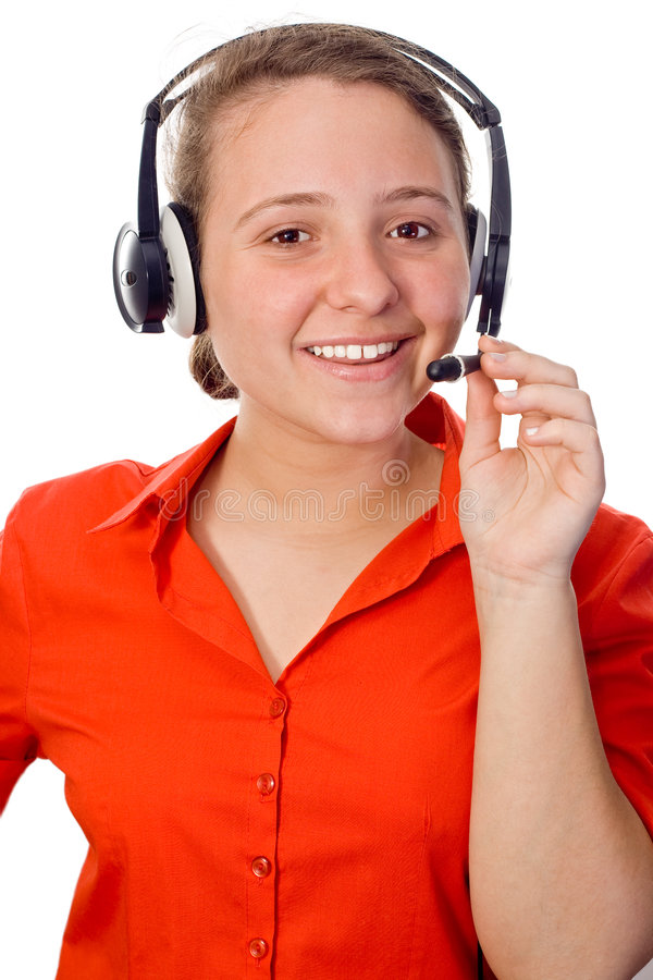 Download Young Businesswoman With A Head-set Stock Image - Image of female, expression: 7101823