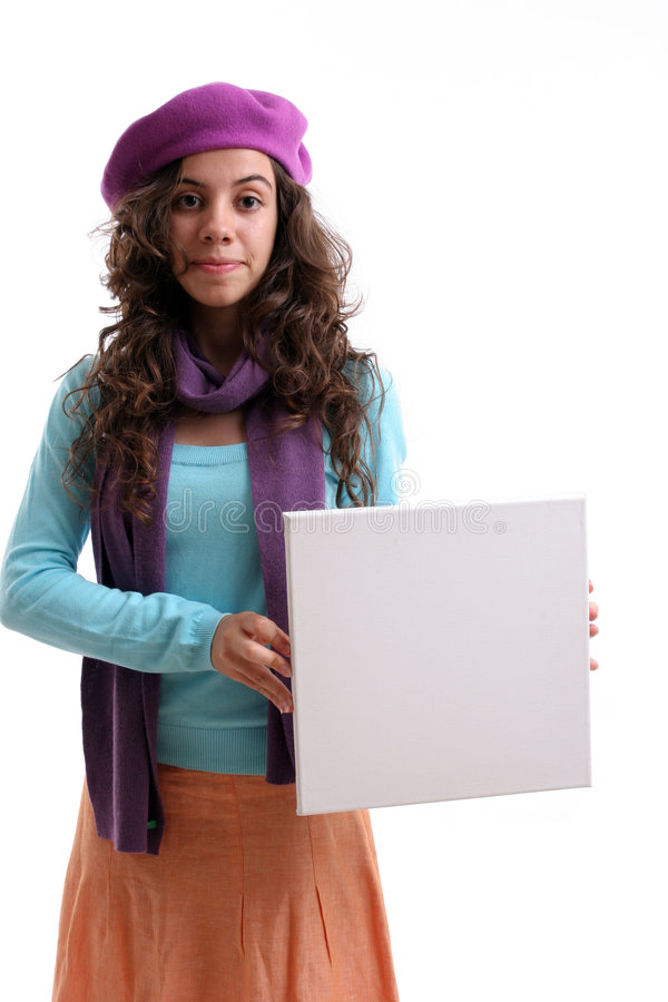 Download Young Businesswoman Holding An Empty White Card Stock Photo - Image: 6502734