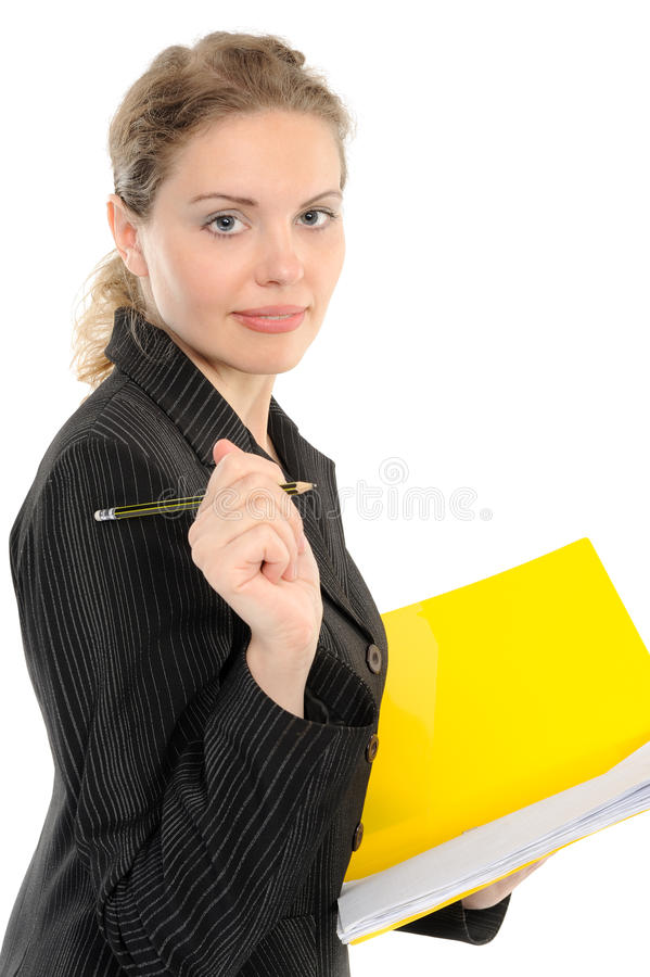 Download Young Businesswoman Holding A Folder Stock Photo - Image: 14852838