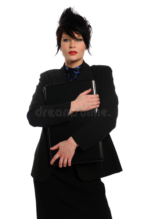 Young Businesswoman holding a laptop computer